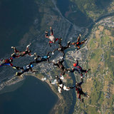 photo: Ron Holan: skydiving over Voss