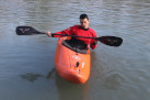 The kayak balance. The weight shifting
